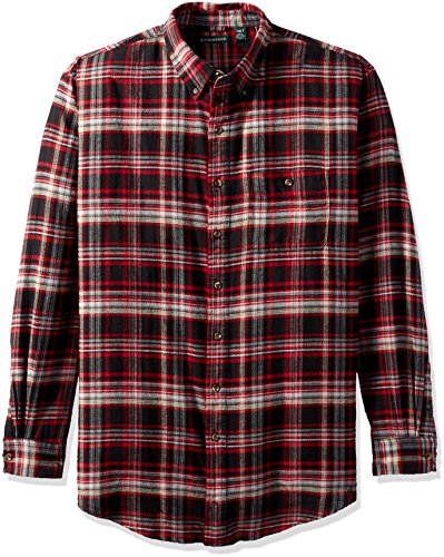 (G.H. Bass & Co. Men's Big and Tall Fireside Flannel Plaid Long Sleeve Shirt, Black, 4X-Large Big)