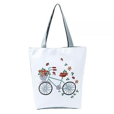 Amazon.com: Bicicleta bolsa de lona de impreso de la playa ...