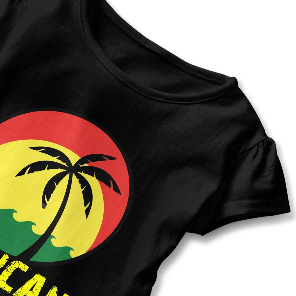 Clarissa Bertha Coconut Tree Reggae Color Jamaican Toddler Baby Girls Short Sleeve Ruffle T-Shirt
