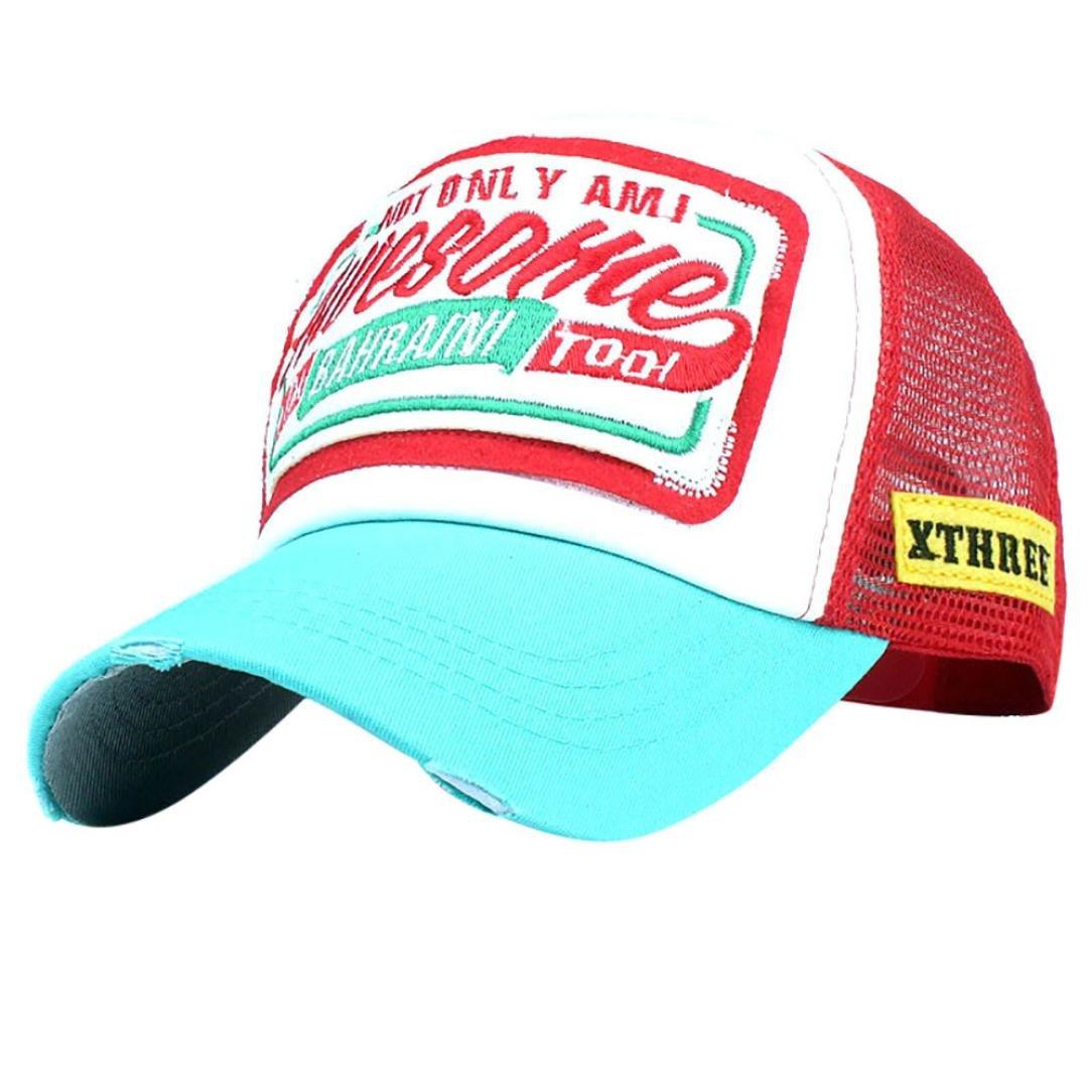 Elogoog Unisex Classic Distressed Vintage Cotton Baseball Mesh Cap Adjustable Snapback Ponytail Trucker Hat (Blue)