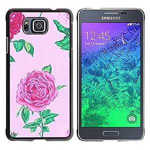 FlareStar Colour Printing Begonia Floral Pink Spring Flower Petal cáscara Funda Case Caso de plástico para Samsung GALAXY ALPHA G850