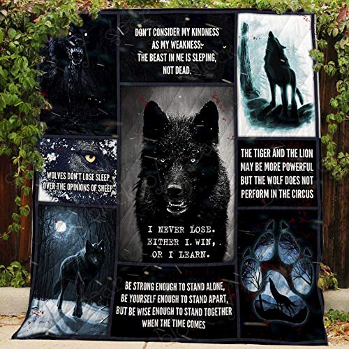 Black Wolf Quilt P366, King All-Season Quilts Comforters with Reversible Cotton King/Queen/Twin Size - Best Decorative Quilts-Unique Quilted for Gifts