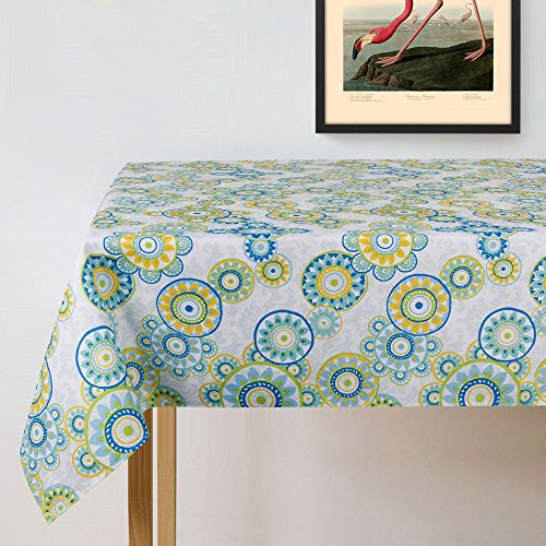 Lamberia Rectangle Vinyl Fabric Tablecloth Heavyweight Spill-Proof and Stain Resistant, 60x84 Oblong, Seats 6-8 People, Light Green