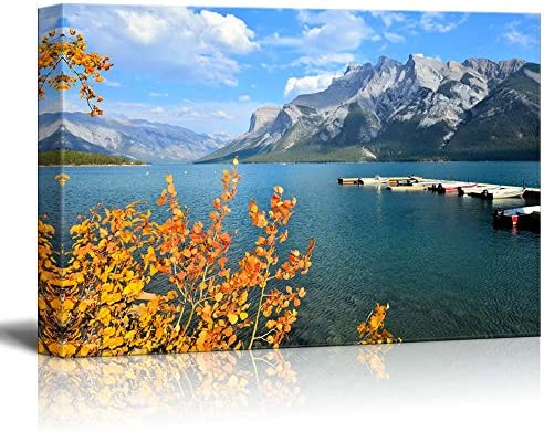Autumn Landscape with Lake Mountain and Vibrant Fall Leaves Wall Decor Wood Framed
