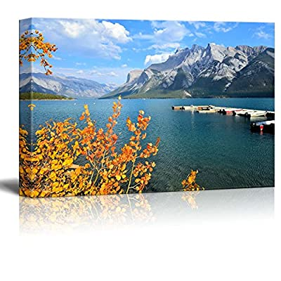 Canvas Prints Wall Art - Autumn Landscape with Lake, Mountain and Vibrant Fall Leaves | Modern Wall Decor/Home Art Stretched Gallery Wraps Giclee Print & Wood Framed. Ready to Hang - 16