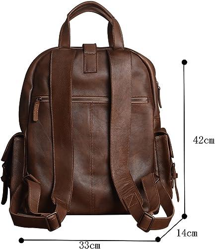 Genda 2Archer Genuine Leather Retro Rucksack Backpack 15 Laptop Bag, School Picnic Bag Travel Dark Brown