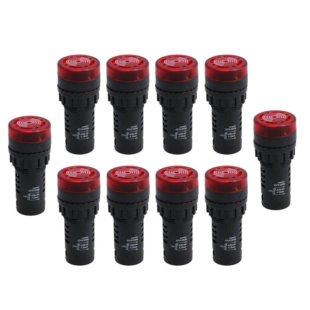 Yibuy 10 PCS LED Flash Alarm Indicator Signal Lamp Buzzer 24V Tomato Color