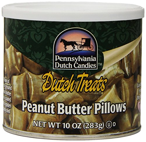 Pennsylvania Dutch Candies Peanut Butter Pillows, 10-Ounces Tins (Pack of 4) Peanut Butter Hard Candy