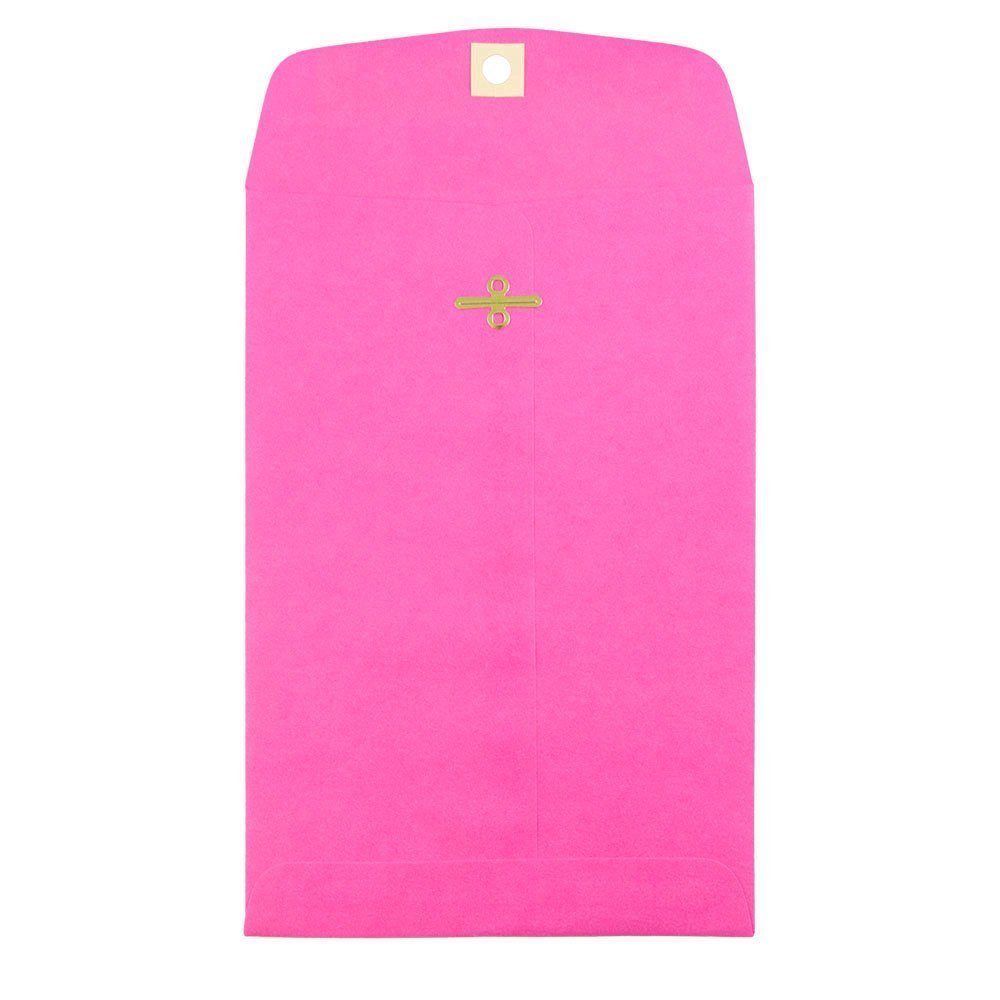 JAM PAPER 6 x 9 Open End Catalog Colored Envelopes with Clasp Closure - Ultra Fuchsia Pink - 100/Pack