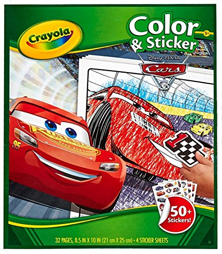 Crayola Disney Pixar Cars 3 Color & Sticker Activity Book Art Gift for Kids & Toddlers 3 & Up, Stickers & Coloring Pages Featuring Cars 3 Favorites Like Lightning McQueen, -