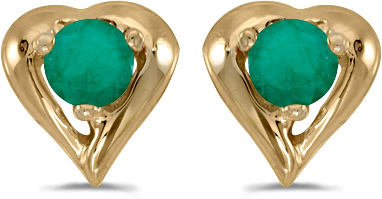Jewels By Lux 14k Yellow Gold Studs Round Gemstone Heart Earrings