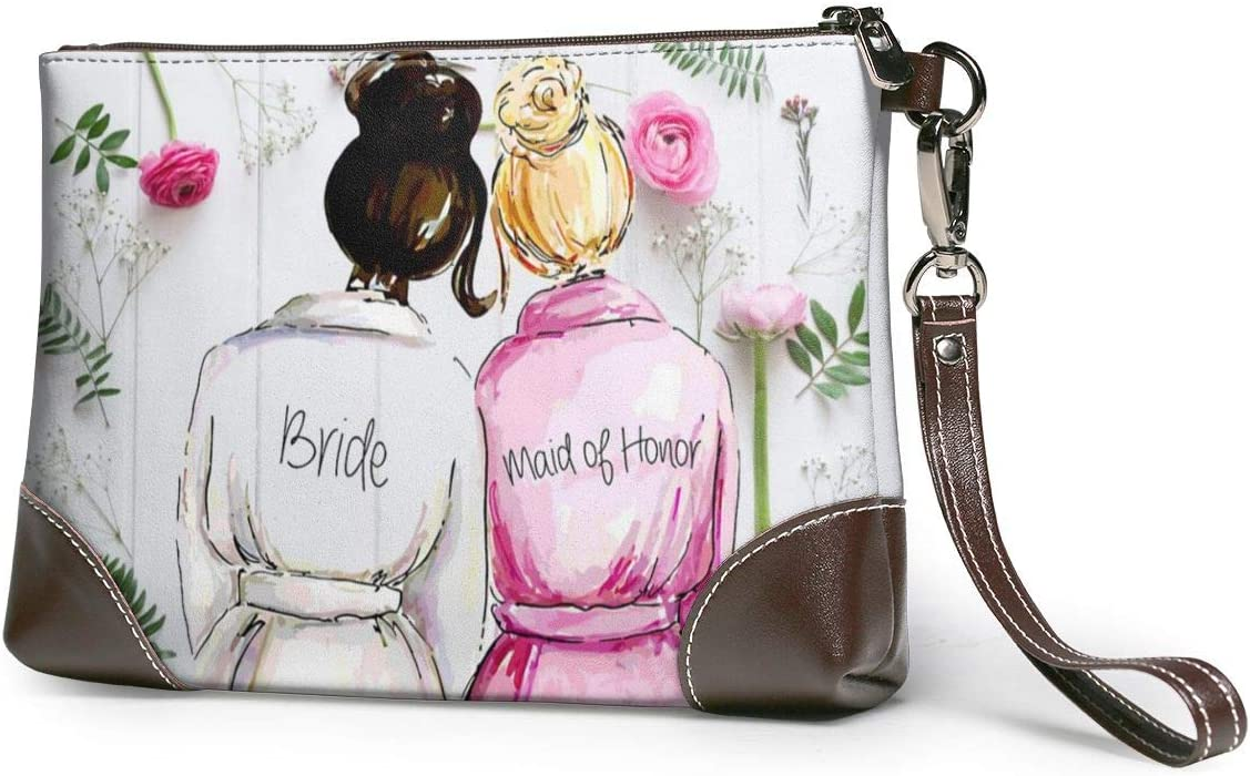 Wedding Maid of Honor, Mother of The Bride, Leather Handbag with Zipper, for Makeup Cosmetic Case Storage Bag Portable Totes Purse