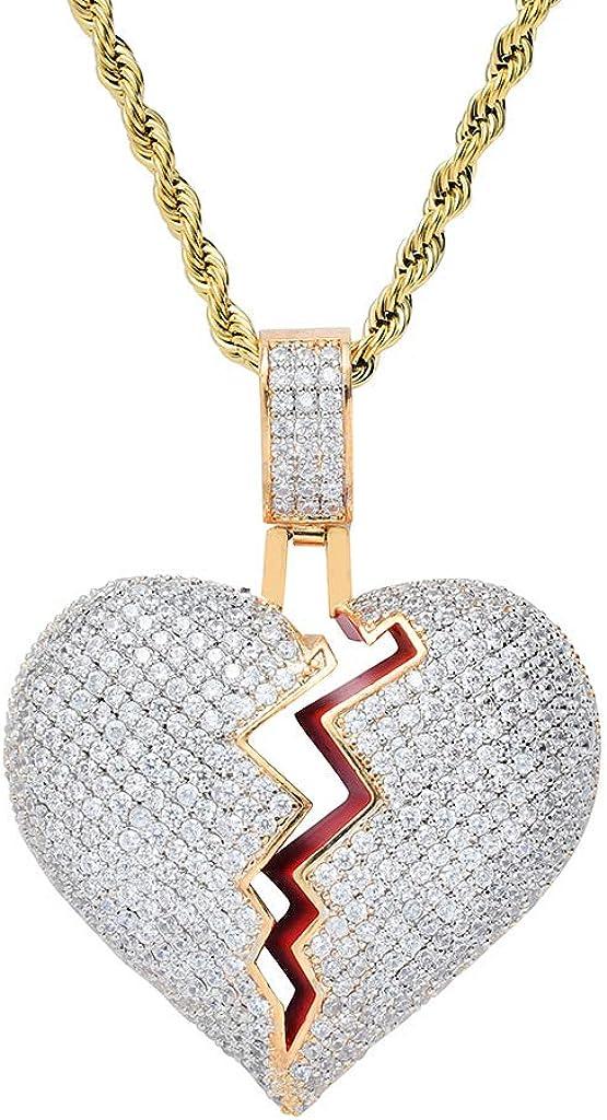 Corazón Roto Collar con Cadena ❤Regalos❤ Colgante de Diamantes Baño de Oro Tipico Colgante de Xxxtentacion Fuera Medallón de Hip Hop Cadena de Cuerda de 24 Pulgada + Caja Clásico + Paño de Microfibra