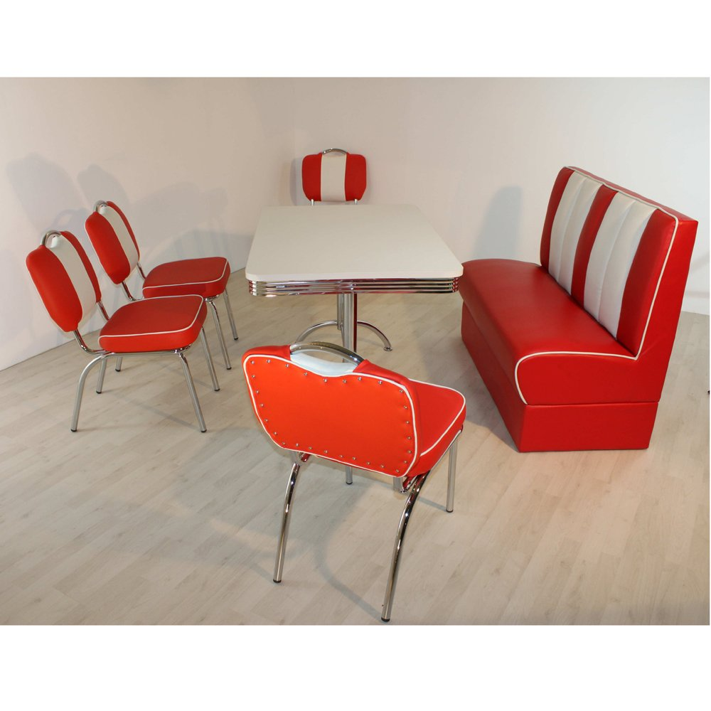 Polsterbank Stuhlgruppe LEWIS rot weiß Bank American Diner Tisch Stühle Bistrostühle
