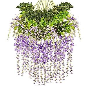 Artificial Fake Wisteria Vine Hanging Garland Silk Flowers String Home Party Wedding Decor 12 Pack 3.6 Feet/Piece 21