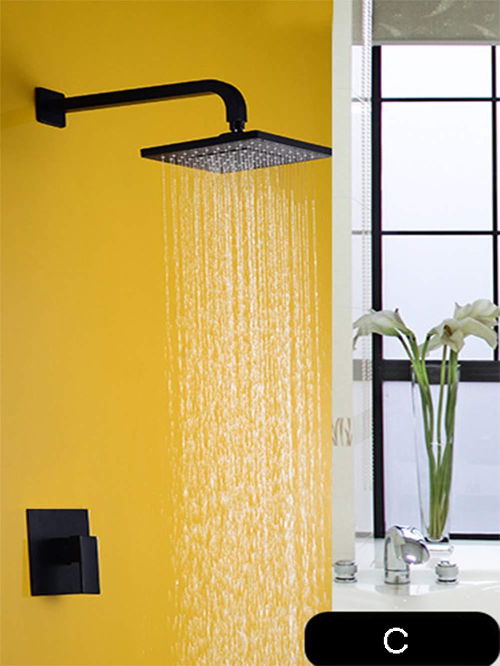 QSWL Duschsysteme Dusche Wasserhahn Set Brausebatterie-Kombinationsset Wandmontage-Duschsystem Mit Regendusche Und Handbrause Mit Automatischer Nozzie-Reinigung, Einschließlich Regelventil