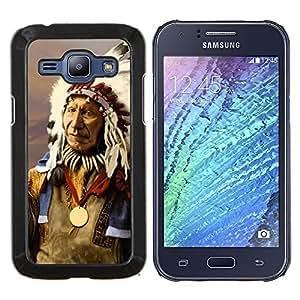 TECHCASE---Cubierta de la caja de protección para la piel dura ** Samsung Galaxy J1 J100 ** --Plumas indios nativos americanos del viejo hombre