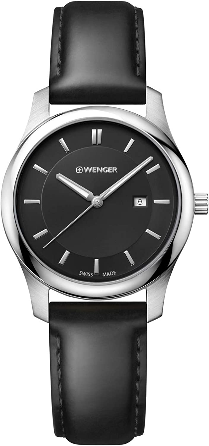 Wenger Men s City Classic Swiss Quartz Stainless Steel and Leather Casual Watch