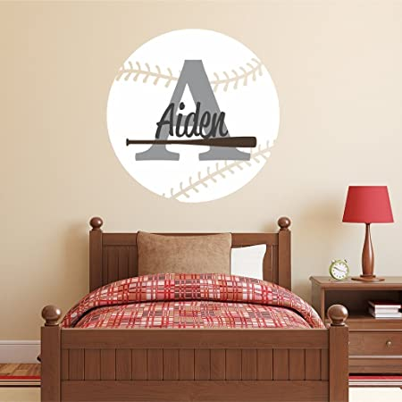 Baseball with custom name removable wall art decor decal sticker home nursery decor