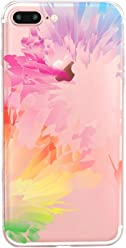 Girlscases® | iPhone 8 Plus / 7 Plus Hülle | Im Regenobgen Multi Color-Splash Motiv Muster | in bunt | Fashion Case Transparente Schutzhülle aus Silikon