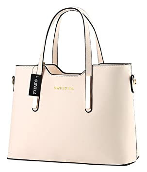 77e29b3386202 Tibes Luxus PU Leder Handtasche Mode Umhängetasche Tasche Beige ...