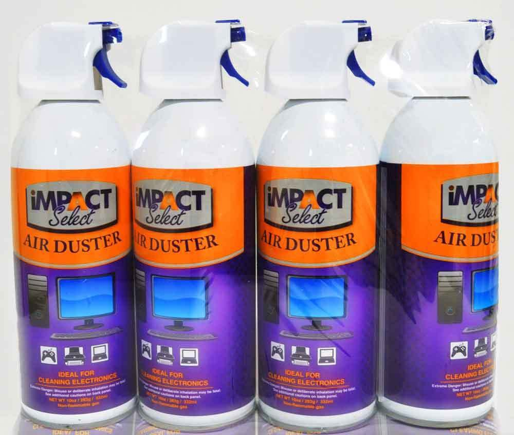 Impact Select Air Duster Compressed Canned Air Keyboard Computer Cleaner Dust Off 10oz Can with Straw (4 Pack) by Impact Canopy (Image #1)
