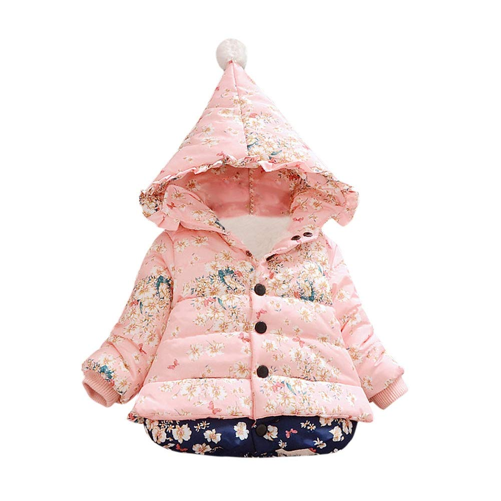 BOBORA Baby Girl Winter Thick Warm Coats Clothes Newborn Flowers Printed Hooded Down Outwear Jacket Coats for 1-4Years BO-UK968