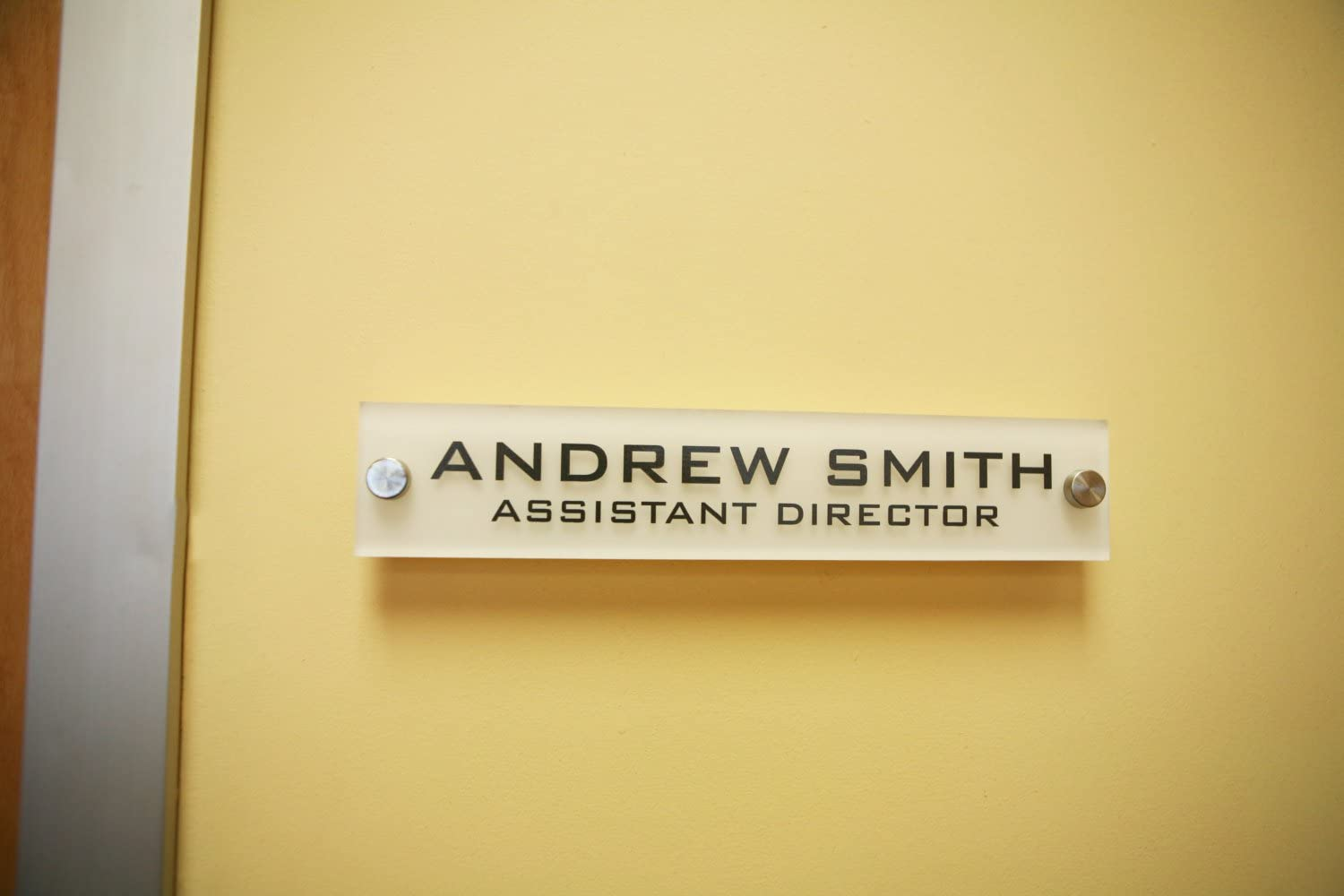 Personalized Office Wall Name Plate Sign. Modern Stainless Steel Legs (Frosted White)