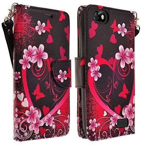 Apple iPod Touch 6th, 5th Generation Case - Wydan (TM) Hybrid Credit Card Wallet Flip Book Style Case Cover - Heart Flower - Black Pink