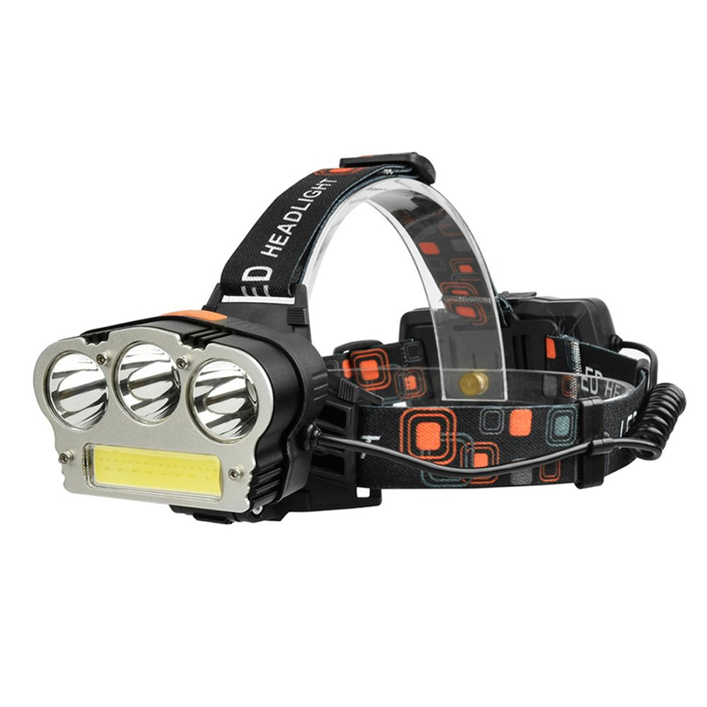 KLSHW Headlights 3000 Waterproof High Power Xenon Glare Super Bright Rechargeable Lithium Battery Outdoor LED Night Fishing Rice Headlights (Size : A)