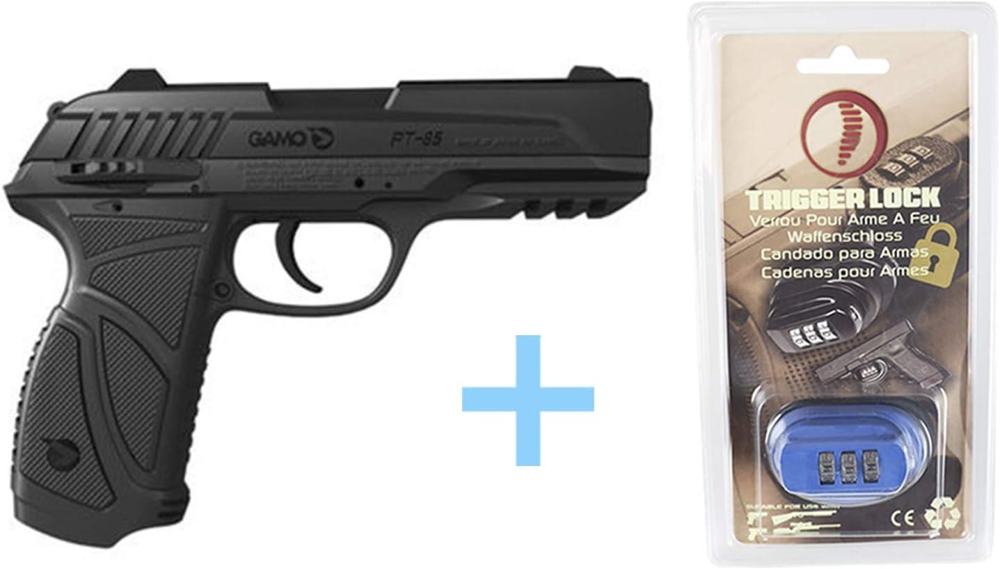 Gamo Pack Pistola Aire comprimido (CO2) PT-85 Blowback, Pistolas de balines, 4,5 mm, Potencia de 3 Julios, Pistola perdigones + Candado de Seguridad Yatek. Pistolas