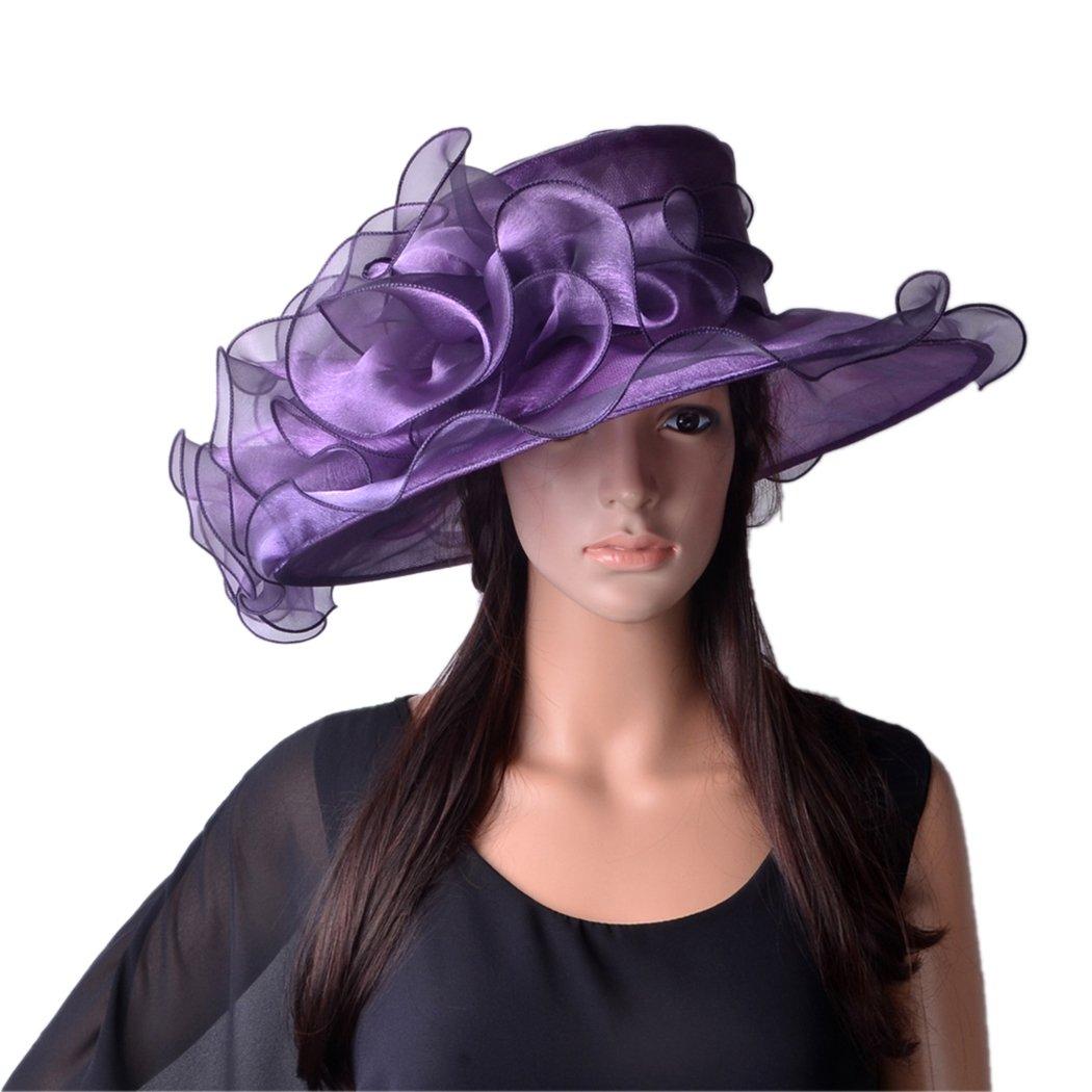 Womens Fascinators Large Brim Organza Kentucky Derby Sunhat Wedding Church Hat