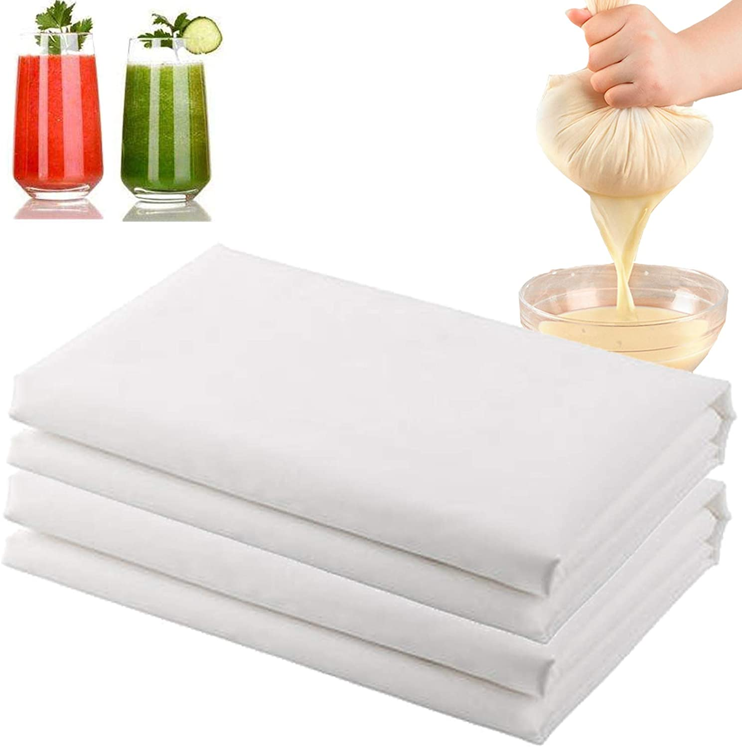Cheese Cloth Nut Milk Cloth Nylon Straining Cloth Fine Mesh Food Strainer Cloth,Multi Purpose Food Grade Filter Cloth for Nut Milk,Juice,Cold Brew,Home Brewing (24INX24IN)
