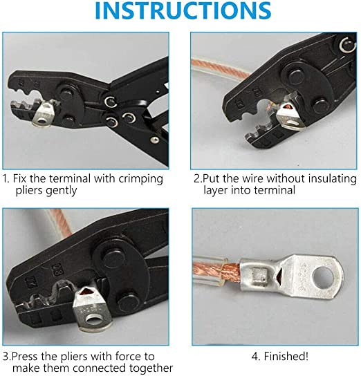 Conector de cable 50 piezas Terminal de terminal de anillo de cobre Terminales de conectores de crimpado prensados en fr/ío sc6‑6