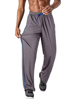 BIYLACLESEN Mens Jogger Sweatpants Zipper Pockets Breathable Running Gym Workout Athletic Mesh Pants Open Bottom
