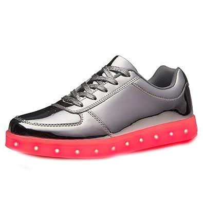 (Present:kleines Handtuch)Schwarz EU 38, Männer Unisex Frauen Luminous Sneakers USB-Lade-LED Sportschuhe Farben, 7 Top Aufleuchten-blink