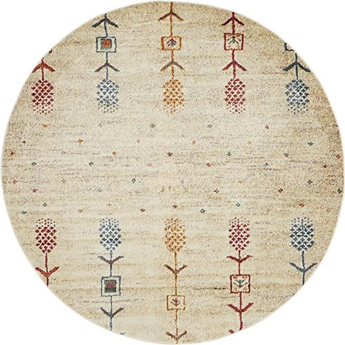 Unique Loom Native Collection Tribal Modern Kids Cream Round Rug (5' x 5')