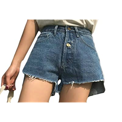 Pivaconis Womens Gilrs Ripped Destroyed High Waist Skinny Fit Denim Bermuda Shorts Jeans