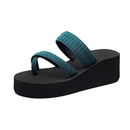 39abd5e960357 YEZIJIN Hot Sale! Women's Slippers Fashion Non-Slip Wedge Clip-Toe Sandals  Sequin Beach Shoes Slipper Heels Platform Flats Shoes for Women Ladies Girl  ...