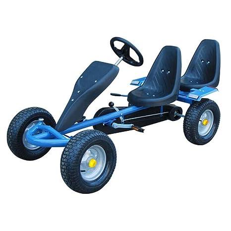 vidaXL Go Kart Coche con Pedales Azul Dos asientos Con Ruedas De Goma de Niños