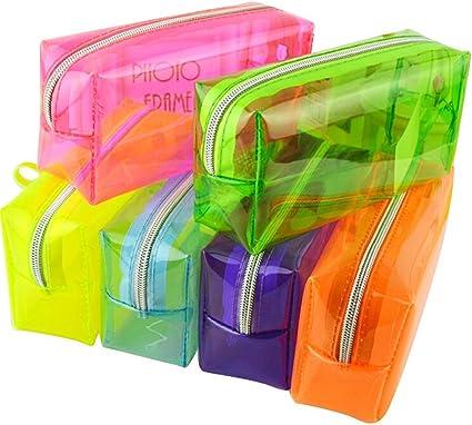 Estuche de moda, Color de Caramelo, de plástico PVC transparente, estuche de Escuela, Papelería, Bolsa de cosméticos, de maquillaje, estuche, bolsa, Monedero, bolsa, color morado: Amazon.es: Oficina y papelería