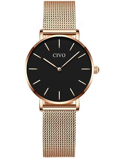 CIVO Relojes Mujer Ultra Fino Silm Minimalista Reloj de Señoras ...