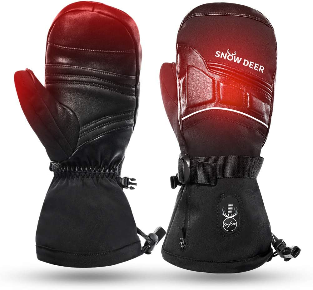 SAVIOR HEAT 2020 Heated Mittens for Men Women 7.4V 2200mAh Electric Rechargeable Battery Thermal Gloves for Winter Skiing Skating Snow Camping Hiking