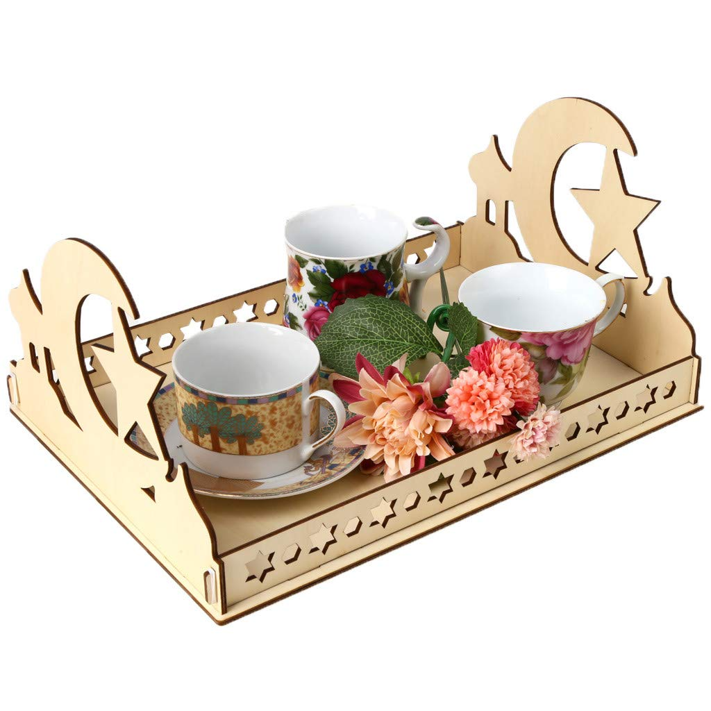 Staron Wood Serving Tray Wooden Artistic Eid Serving Tableware Tray Display Wood Decoration Food Drink Breakfast Trays (C) by Staron  (Image #1)