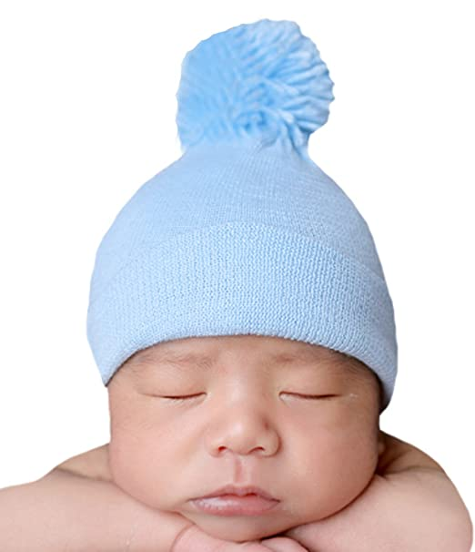 9c685cad04b Image Unavailable. Image not available for. Color  Melondipity s Blue Pom  Pom Nursery Beanie for Newborn Boys Authentic Hospital Grade