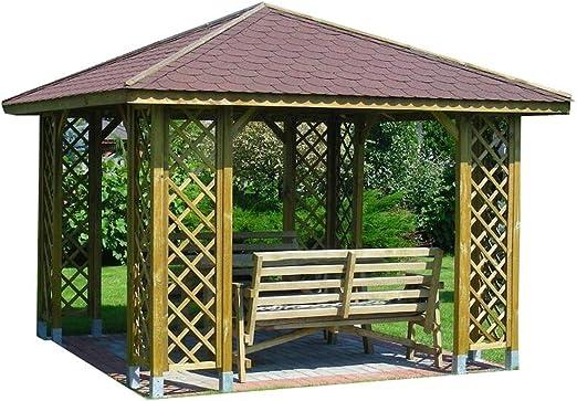 Stan-Wood - Pavillo de jardín con riel de madera, 3 x 3 m (medida ...