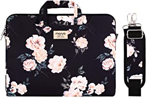 MOSISO Laptop Shoulder Bag Compatible with 13-13.3 inch MacBook Pro, MacBook Air, Notebook Computer, Camellia Carrying Briefcase Sleeve with Trolley Belt