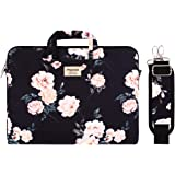 MOSISO Laptop Shoulder Bag Compatible with 13-13.3 inch MacBook Pro, MacBook Air, Notebook with Back Trolley Belt, Canvas Pattern Carrying Handbag Briefcase Sleeve Case Cover, Black Base Peony