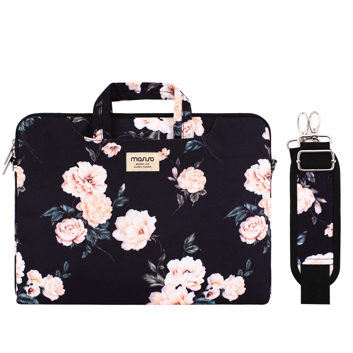 MOSISO Laptop Shoulder Bag Compatible with 14-15.6 inch 2016-2019 MacBook Pro Touch Bar A1990 A1707, Chromebook Notebook,Canvas Pattern Briefcase Sleeve with Back Trolley Belt, Apricot Peony by MOSISO