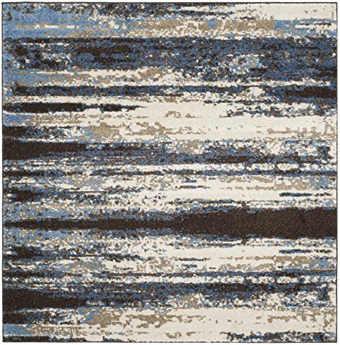 Safavieh Retro Collection RET2138-1165 Cream and Blue Modern Abstract Area Rug (4' Square)